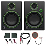 Mackie CR4 Creative Reference Multimedia Monitor (Pair) w/Pro DJ Bundle Includes, 3-feet 1/8' TRS Male to Two 1/4' TS Male Cable & Universal Pop Filter Microphone Wind Screen w/Mic Stand Clip