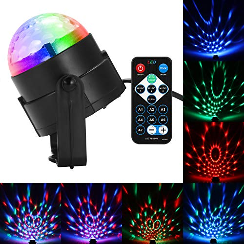 Lemonbest RGB Disco Party Light Sound Activated Party Strobe Lamp, Remote LED Multi-Color Rotating Stage Light DJ Magic Disco Ball Lights for Halloween Christmas Holiday -