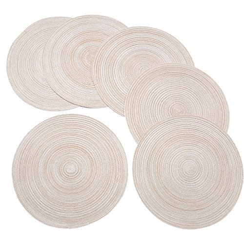 - Round Braided/Woven Placemats, Indoor/Outdoor Placemat/Charger, Kitchen Mat for Dinning Table Washable Set of 6 Beige