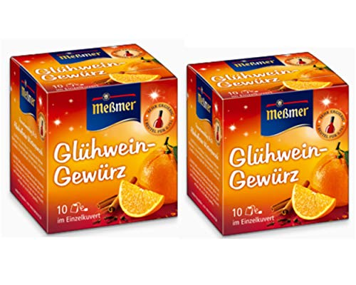German Mulled Wine Spice Mix Gluhwein - Mulling Spices - 20 x 1.5g Sachets - Glühwein Gewürz by Meßmer - Sold by Helen's Own - with Full English Recipe Booklet