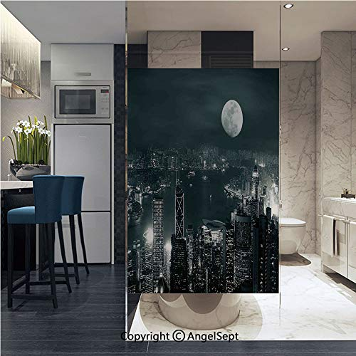 AngelSept Non-Adhesive Privacy Window Film Aerial View of Hong Kong City at Night with Full Moon Sky Architecture Mystic Print Door Sticker Glass Film 22.8 in. by 35.4in. (58cm by ()