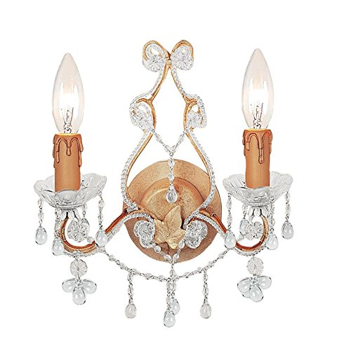 Champagne / Clear Crystal Paris Flea Market 2 Light Candle Style Double Wall (Paris Flea 2 Light Sconce)
