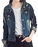 KXP Womens Stylish Ripper Slim Hole Shorts Denim Jackets Blue XS