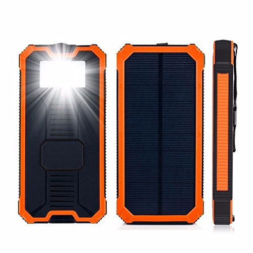 Case Safety 1 x 20000mAh 2 USB Backup Waterproof Solar Portable Power Bank Battery Charger for Cell phones iPhone Samsung HTC Nokia Blackberry Motorola LG Google LG Nexus Sony/GPS/PSP etc., Orange