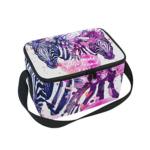 LORVIES Watercolor Love Zebra Insulated Lunch Box Bag Cooler Reusable Tote Bag with Adjustable Shoulder Strap for Women (Male Zebra)
