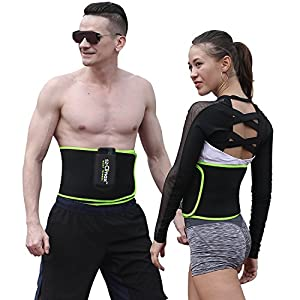 Waist Trimmer Belt, SZ-Climax Exercise Wraps for Weight Loss Mens Women Fitness Workout Sweat Sauna Ab Belts Lumbar Back Support Belt Best Abdominal Trainers with Pocket for Cell Phone