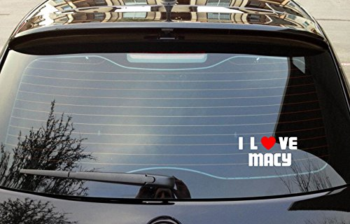 "I LOVE MACY Boy Girl First Name Vinyl Decal Bumper Window Sticker 8"" x - Kids Macys"