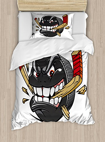 Ambesonne Hockey Twin Size Duvet Cover Set, Cartoon Hockey Puck Bites and Breaks Hockey Stick Championship Game Mascot Character, Decorative 2 Piece Bedding Set with 1 Pillow Sham, Multicolor