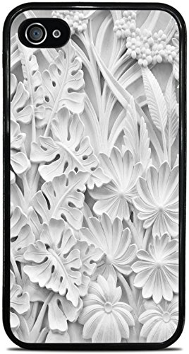 Flowers and Leave Marble Sculpture Motif Black Silicone Case for iPhone 4 / 4S by Moonlight Printing