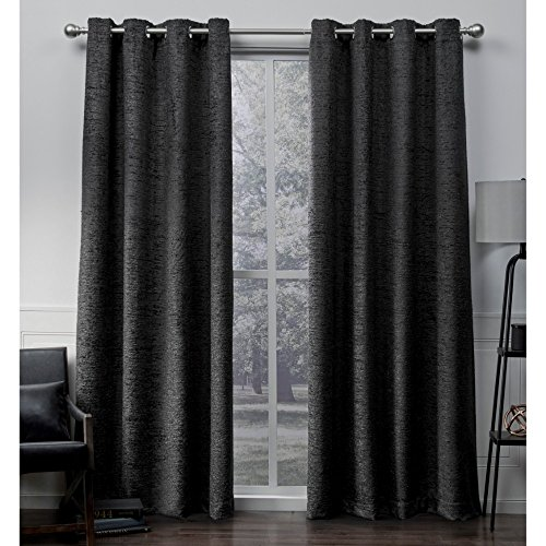 Exclusive Home Criss Cross Eyelash Chenille Grommet Top Curtain Panel Pair, Black Pearl, 54x84