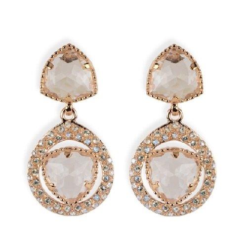 Boucles d'oreilles argent rose éléments swarovski