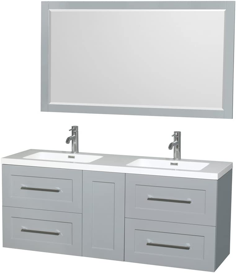 Wyndham Collection Olivia 60 inch Double Bathroom Vanity in Dove Gray, Acrylic Resin Countertop, Integrated Sinks, and 58 inch Mirror