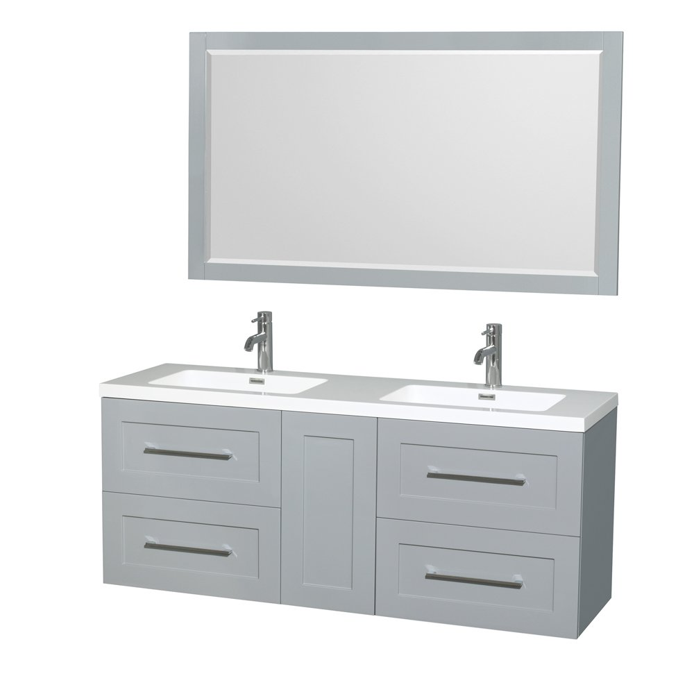 """Wyndham Collection Olivia 60"""" Double Vanity, Dove Gray, Acrylic Top, Integrated Sinks, 58"""" Mirror"""