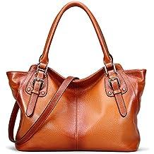BIG SALE-AINIMOER Women Vintage Soft Genuine Leather Tote Shoulder Bag Top-handle Cross body Handbags Ladys Purse
