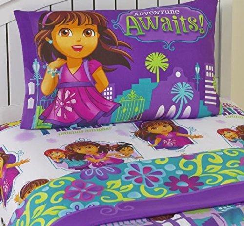 Dora Adventure Set - Dora and Friends Adventure Awaits 3 Piece Twin Sheet Set