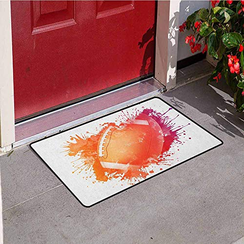 (Gloria Johnson Sports Commercial Grade Entrance mat Rugby Ball in Digital Watercolors Splash Recreational Leisure Sports Run Design for entrances garages patios W23.6 x L35.4 Inch Orange Red)
