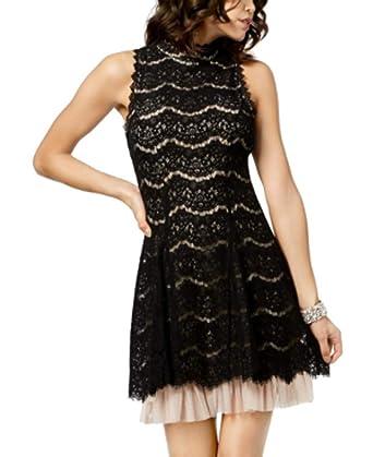 a2986a66622 Amazon.com: Trixxi Juniors' Lace Mock-Neck Dress: Clothing