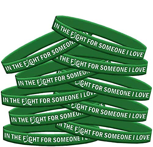 In The Fight For Someone I Love Liver Cancer Liver Disease Wristband Bracelet 10-Pack (Emerald Green)