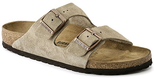 Birkenstock Arizona 'Cork Footbed' (Men's) Cream Taupe Suede Leather Sandals (45 M EU, 12-12.5 US Men)