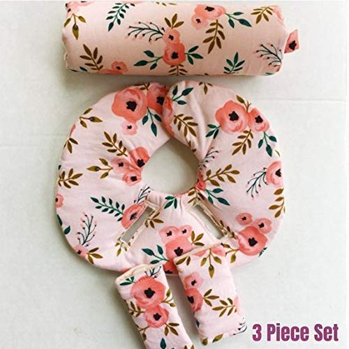 Baby Head Support, Floral, Blush Pink, Peach, Infant Head Support Pillow, Infant Car Seat Strap Covers, Car Seat Arm Pad, Newborn Head Protector
