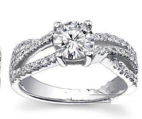 Gowe 1,5carat rond brillant Anneaux Multiples Ascd Lab Cultivées Diamant solide 9K Or blanc diamant Bague de fiançailles de mariage Diamant