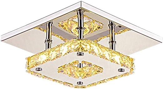SPA 8 W Cristal LED Corredor Luz de techo Iluminación de escalera Comedor Montaje en superficie Focos de acero inoxidable Accesorio cuadrado moderno Interior Lámpara de techo para pasillo decorativo P: Amazon.es: