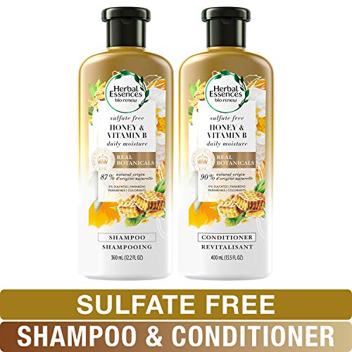 Jasmine Shampoo Vanilla Conditioner - Herbal Essences Sulfate Free Shampoo and Conditioner Kit, BioRenew Honey & Vitamin B, Safe for Color Treated Hair 13.5 & 12.2 fl oz, Kit
