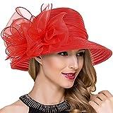 Lady Church Derby Dress Cloche Hat Fascinator Floral Tea Part Bucket Hat S051 (Red)