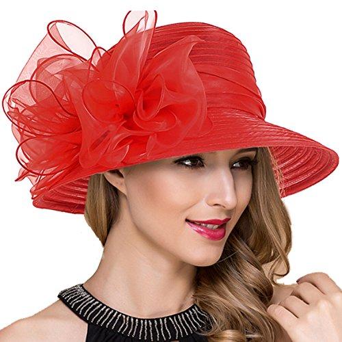 Lady Church Derby Dress Cloche Hat Fascinator Floral Tea Party Wedding Bucket Hat S051 (Red) -