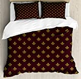 Fleur De Lis Duvet Cover Set King Size by Ambesonne, French Inspired Royal Pattern European Culture Abstract Vintage Renaissance, Decorative 3 Piece Bedding Set with 2 Pillow Shams, Redwood Gold