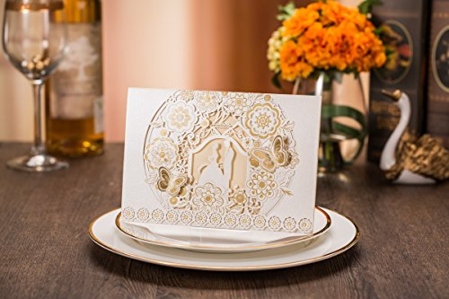 Tennove 25PCS Invitation Cards Laser Cut Wedding Party Invitations Cards with Lace for Wedding Engagement Party,White