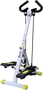 Doufit Stepper for Exercise, ST-01 Folding Workout Adjustable Step Machine for Home with Digital Monitor, Handle Bar and Resistance Bands (No Need Washer)