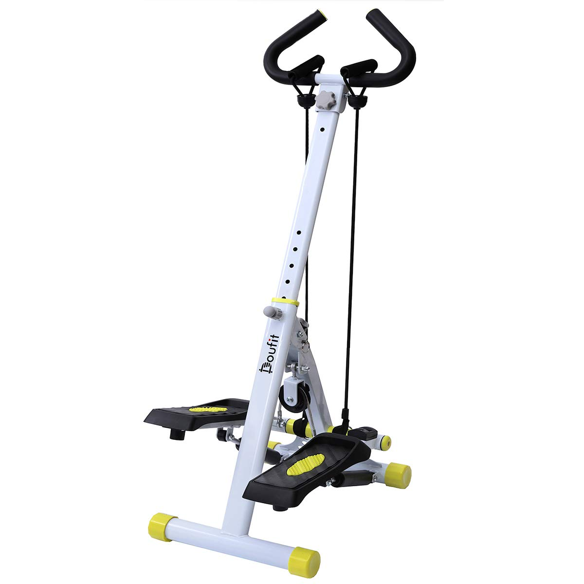 Stepper for Exercise Machine, Doufit ST-01 Folding Workout Step Machine for Home Use with LCD Monitor, Handle Bar and Resistance Bands