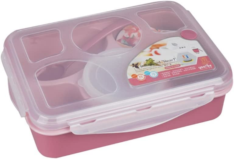 Bento Lunch Box For Kitchen & Dining , BPA Free Microwave Food Container With 5 Compartment & Transparent Cover, Leak-Proof Dishwasher Safe Lunch Tray With Spoon , For Adult And Kids Office Home Meals