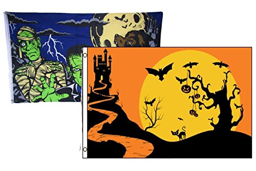 ALBATROS 3 ft x 5 ft Happy Halloween 2 Pack Flag Set Combo #8 Banner Grommets for Home and Parades, Official Party, All Weather Indoors Outdoors