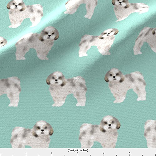 Spoonflower Shih Tzu Fabric Shih Tzu Mint Cute Shih Tzu Dog Print Sweet Toy Breed Dog Fabric by Petfriendly Printed on Fleece Fabric by the (Shih Tzu Fleece)