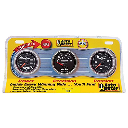 3 Gauge Panel Oil Water - Auto Meter 3600 Sport-Comp II 2-1/16