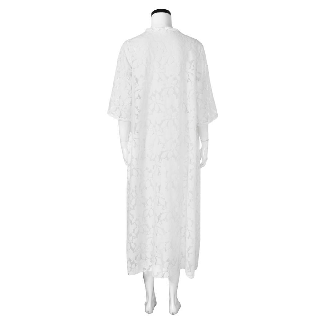1eeff2002d Moonuy Été Loose chemisier De Plage Blanc Long Cardigan de Plage Pareo  Maillot de Bain Sarong Bikini Cover Up Blouse Tunique Kimono Grande Taille:  ...