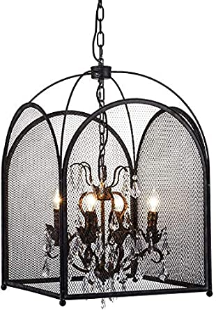 Araña de cristal, jaula de cristal antiguo colgante de iluminación ...