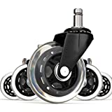 (SET OF 5) Office Addiction - Rollerblade Office Chair Replacement Wheels - Hardwood Safe 3-Inch Heavy Duty Replacements - Ball Bearing Swivels - Floor Safe Design - Black/Clear