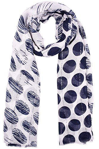 ORSKY Women's Lightweight Scarves Cotton Navy Polka Dot (Navy Plum)