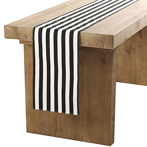 Lings moment Classical Durable Black and White Striped Table Runner for Wedding Graduation Bachelorette Party Table Decorations - Cotton Canvas Fabric 12 x 72 / 6 FT
