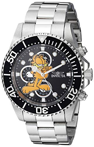 - Invicta Men's Character Collection Garfield Analog Quartz Watch with Stainless Steel Strap, Silver, 21.3 (Model: 27419)