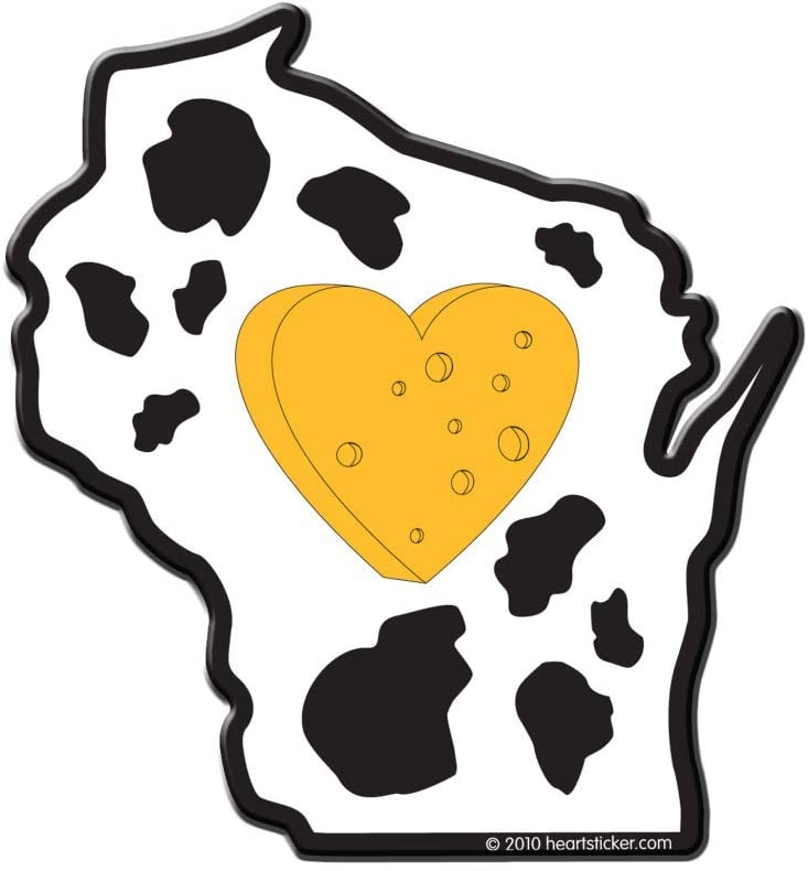 Heart in Wisconsin Sticker   WI State Shaped Label   Apply to Mug Phone Laptop Water Bottle Decal Cooler Bumper   Cheesehead Dairyland Green Bay Packer Milwaukee Bucks Badgers Brewers 608 Cow Cheddar
