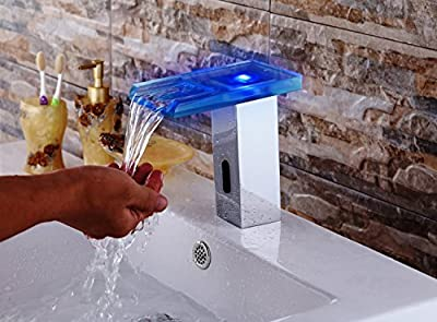 YAJO Modern LED Color Changing Glass Waterfall Spout DC Power Touch-Free Automatic Bathroom Vessel Sink Sensor Faucet Hot & Cold Mixer Faucet, Chrome Finished