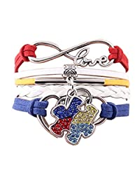 Charmed Craft Autism Awareness Bracelet Infinity Heart Love Rope Puzzle Cuff Bracelets