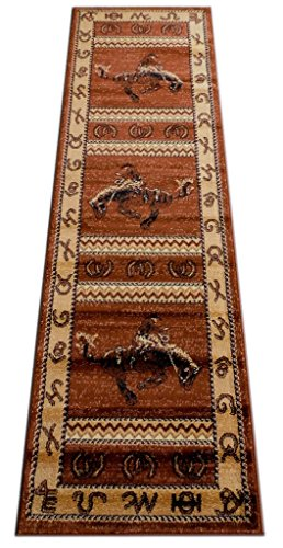 Lodge Western Area Rug Design 370 Brown (2 Feet 2 Inch X 7 Feet 2 Inch) Runner
