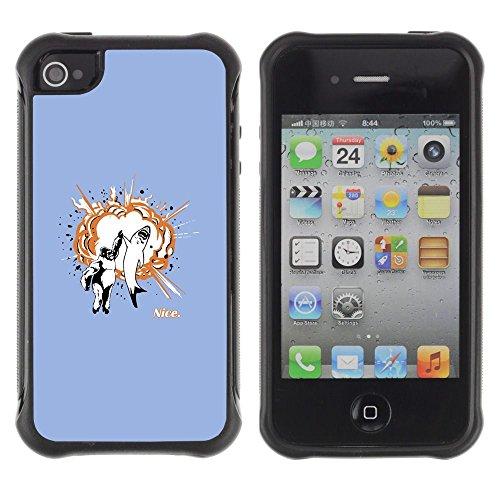 Apple Iphone 4 / 4S - Shark Gorilla Animals Friendship Art Quote