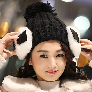 Wool Hat Autumn Women Knitted Bowknot BLUSHINGPINK Cashmere Plus GSM Cotton Winter ONESIZE Warm Caps WvPn5qSHT