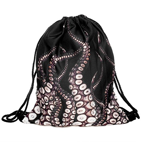 Ababalaya 3D Print Drawstring Backpack Rucksack Shoulder Bags Gym Bag, Squid Foot (1 Squid 1 Girl)